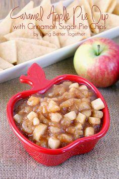 Caramel Apple Pie Dip with Cinnamon Sugar Pie Chips