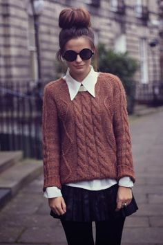 Adorable brown sweater, pants, white shirt and black sunglasses for fall