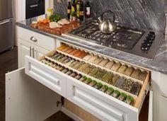 10 Stylish Spice Storage Ideas For Your Wonderful Kitchen 1 Kitchen Pantry Design, Diy Kitchen Storage, Home Decor Kitchen, Interior Design Kitchen, New Kitchen, Home Kitchens, Kitchen Drawer Inserts, System Kitchen, Kitchen And Bath