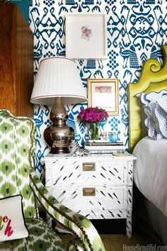 Blue and White Ikat Wallpaper, Yellow Headboard, Green Ikat fabric