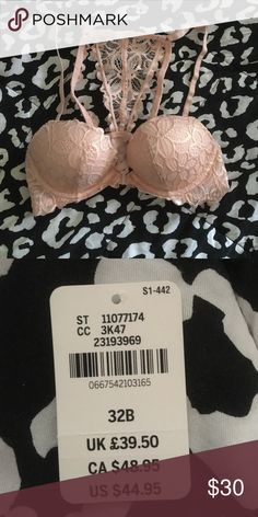 Metallic PINK racer back bra Cute PINK metallic racer back bra, only worn once, I have the tags still bought the wrong size but couldn't return it! PINK Victoria's Secret Intimates & Sleepwear Bras