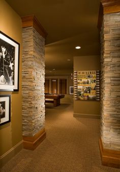 interesting!  walls & ceiling and molding are all the same color  Contemporary Basement Photos Design, Pictures, Remodel, Decor and Ideas - page 35