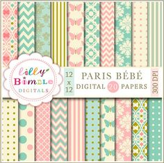 PARIS BEBE digital papers in teal and salmon pink, modern scrapbook papers for…