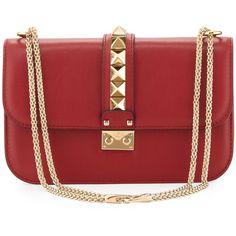 Valentino Lock Rockstud-Trim Flap Bag, Red (34.355 ARS) ❤ liked on Polyvore featuring bags, handbags, purses, valentino, red, red leather purse, leather purses, handbags purses, woven leather purse and genuine leather handbags