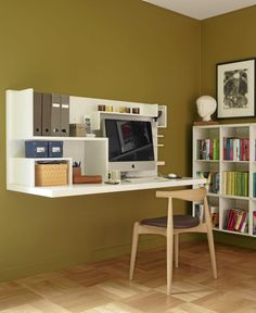 Love this wall-mounted desk that has no legs to get in the way. Would be a great idea for a Lego table, using baseplates on the surface of the desk and shelves above to store creations. Small Kitchen Organization, Home Office Organization, Decor Room, Home Decor, Workspace Design, Childrens Room Decor, Cabinet Makers, Creative Decor, Home Furniture
