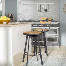 farmhouse kitchen colors Distinctive style abounds with this adjustable height swivel bar stool, crafted from wood and metal and showcasing a breezy open design. Its wood-grain Diy Bar Stools, Diy Stool, Counter Height Bar Stools, Swivel Bar Stools, Bar Chairs, Kitchen Stools, Bar Counter, Kitchen Tables, Kitchen Dining