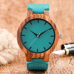 Women Wooden Quartz Watch Unique Blue Genuine Leather Strap Watch Modern Woman Sport Nature Bamboo Wood Wristwatch reloj mujer