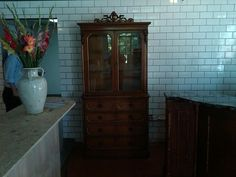 Our antique server station is delivered and the kitchen counter on the left is coming along...