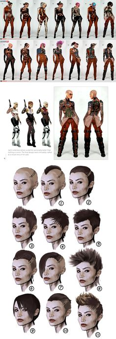 Jack concept art for Mass Effect 2 uses many different costume and hair designs to not only look better as a character study, but or it to link to their personality and their traits. The costume can be seen sometimes changing slightly, and then more significantly. The correct combination will have to be made to make the character look unique but also relatable.
