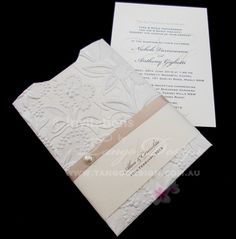 classy pocket wedding invitation decorated with de Faux Pearl, latte ribbon and printed paper band. A unique idea from www.tangodesign.com.au servicing world wide