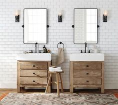 Mason Reclaimed Wood Single Sink Console - Wax Pine finish | Pottery Barn Bathroom Sconce Lighting, Bathroom Sconces, Bathroom Sink Vanity, Ensuite Bathrooms, Attic Bathroom, Bathroom Ideas, Upstairs Bathrooms, Bathroom Styling, Bathroom Renos