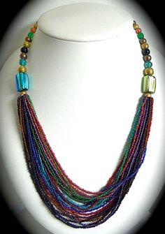 Boho foil torsade Statement Necklace  Art glass Vintage. $48.00