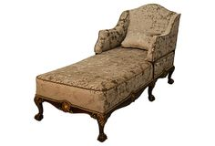 Chippendale-Style Chaise Longue, C. 1895 on OneKingsLane.com described by Clark Antiques Gallery English Chippendale-style chaise longue with detailed ball and claw feet, gilt accents, and new taupe burned velvet upholstery, in pristine condition, circa 1895.