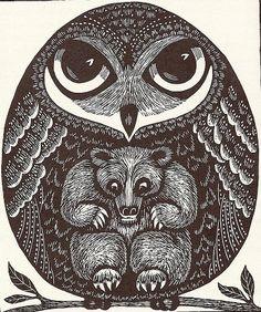 Owl and Bear Illustration #Owl #Bear #Illustration #art