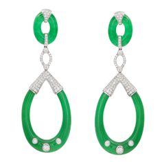 1stdibs |  Carved Jade and Diamond Earrings Sophia D. (jewelery maker for Bulgari, Cartier and Fred Leighton