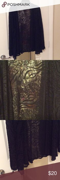 Chico's Sheer Black Animal Print Over Top Gently worn Chico's Size 3 Animal Print sheer black long sleeve Over Top.  100% nylon, hand wash, cold, hang to dry. Chico's Other