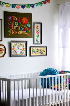 retro vintage nursery with embroidery collage wall by From Faye