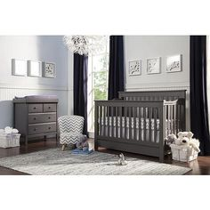 """Piedmont 4-in-1 Convertible Crib with Toddler Bed Conversion Kit - Slate - DaVinci - Babies """"R"""" Us"""