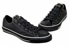 57f1065235047 Converse All Star Chuck Taylor European OX 1J858 Black Leather Shoes 5.5  Women