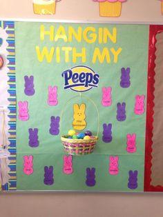 Preschool Bulletin Board Ideas Preschool Bulletin Boards, Bullentin Boards, Easter Bulletin Boards, Easter Peeps, Board For Kids, Spring Crafts, Kindergarten, Classroom, Kids Rugs