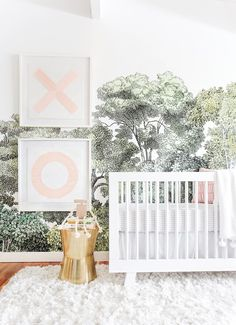 A Baby Girl's Blush and Green Nursery is part of Nursery mural - A Baby Girl's Blush and Green Nursery WoodlandNursery Wallpaper