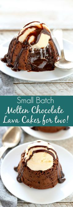 These Molten Chocolate Lava Cakes for Two are the perfect small batch dessert! These lava cakes are incredibly easy to make, ready in less than 30 minutes, and a perfect dessert for Valentine's Day. for two Molten Chocolate Lava Cakes For Two Mini Desserts, Valentine Desserts, Small Desserts, Chocolate Desserts, Easy Desserts, Molten Chocolate, Delicious Desserts, Dessert Recipes, Easy Chocolate Lava Cake