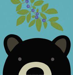 Peek-a-Boo Bear Print by Yuko Lau at Art.com