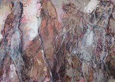 monotype and mixed media op canvas Marjan Nagtegaal Mixed Media Canvas, Walk On, Figure Drawing, Ink, Drawings, Painting, Alcohol, Chain, Paint