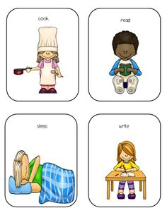 autism action words.  These task cards are for working on identifying verbs, imitating verb actions and performing verb actions when given a verbal direction.