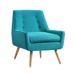 Linon Home Decor Trelis Bright Blue Microfiber Arm Chair 368360MER01U at The Home Depot - Mobile