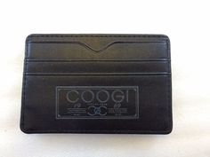 Coogi Black Leather Money Clip Card Holder Wallet #Coogi