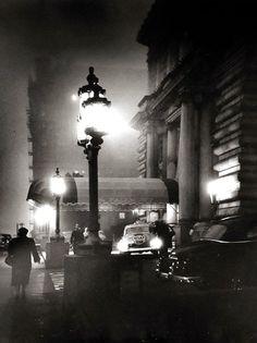 "Fred Lyon, Foggy Night in San Francisco's Nob Hill, Entrance to the Fairmont Hotel, circa 1950. """