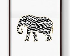 Printable Tribal Elephant Print, Gold Elephant, African Animal, Safari Animal, Nursery Art, Abstract Art, Digital Downloadable Print