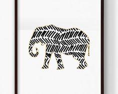 Printable Tribal Elephant Print, Gold Elephant, African Animal, Safari Animal, Nursery Art, Abstract Art, Digital Downloadable Print