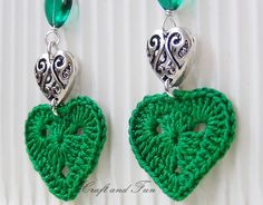 Valentine: Crochet Earrings DIY. ❤CQ #crochet #hearts #valentines    http://www.pinterest.com/CoronaQueen/crochet-hearts/