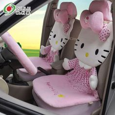 12pcs Hello Kitty Lace Car Auto Plush Neck rest Steering Whee Seat Covers Case