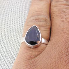 Bezel Set Ring, Smoky Quartz Ring, Pear Shaped Diamond, Handcrafted Jewelry, Sterling Silver Rings, Amethyst, Gemstone Rings, Pendants, Gemstones