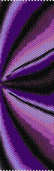 Purple Fractal Even Count Single Drop Peyote Cuff/Bracelet Pattern