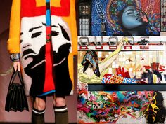 """On the left: one of Prada's color saturated coats. On the right, some of the artists' murals who collaborated with Miuccia for this collection. From top right: Miles """"El Mac"""" Gregor; Gabriel Specter and Stinkfish"""