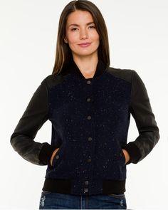 Tweed & Leather-like Baseball Jacket