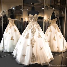 White And Gold Wedding Dresses 2017 Lace Appliques Ball Gown Bridal Dresses Tulle Floor Length Wedding Gowns Ball Gown Wedding Dresses With Lace Ball Gown Wedding Dresses With Train From Gonewithwind, $402.02| Dhgate.Com