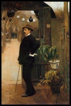 Santiago Rusiñol (Catalan-Spanish, 1861-1931), Retrato de Miquel Utrillo. 1890-91. Oil on canvas, 222.5 x 151 cm. Museu Nacional d'Art de Catalunya, Barcelona.