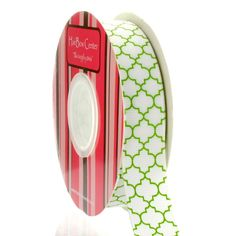 "HairBow Center | 7/8"" Green Quatrefoil Grosgrain Ribbon [$2.25] Available in 5, 25, 100yds"