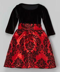 Look at this #zulilyfind! Black & Red Damask Velvet Dress - Infant, Toddler & Girls by Kid Fashion #zulilyfinds