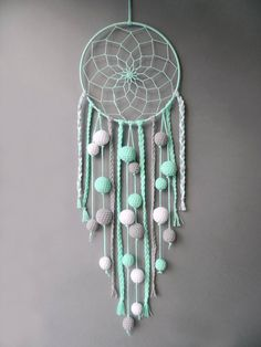Nursery dream catcher Mint decor wall hanging Kids room decor Baby room dreamcatcher with pom poms Gender neutral baby shower gift - Modern Bohemian Kids, Bohemian Decor, Baby Room Decor, Wall Decor, Room Baby, Mint Decor, Gender Neutral Baby Shower, Decoration, House Warming