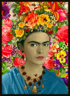 Frida Kahlo Bees Art Print Floral Boho Mixed Media by ARTDECADENCE