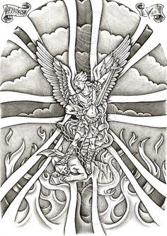 2011, A4 pigma micron and pencil Shadow work of Guido Reni's St. Michael with a custom union jack background for a half sleeve tattoo commission This is a PAID COMMISSION DESIGN, please DON'T use i...