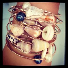 Custom Puka Shell Bangle or Cone Shell Bangle Sterling Silver. the more the mer… - Jewelry Ideas Seashell Jewelry, Seashell Crafts, Beach Jewelry, Wire Jewelry, Jewelry Crafts, Jewelry Bracelets, Handmade Jewelry, Bangles, Gold Jewelry
