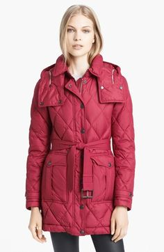 Oh, I love this color. Burberry Brit Quilted Genuine Fox Fur Trim ... : nordstrom burberry quilted jacket - Adamdwight.com