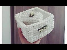 Penye ipten kare sepet yapımı - YouTube